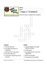 'I Magic E' Crossword Worksheet