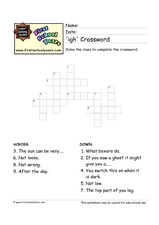 Crossword Puzzle: 'igh' Letter Patterns Worksheet
