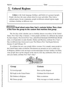 Cultural Regions Worksheet