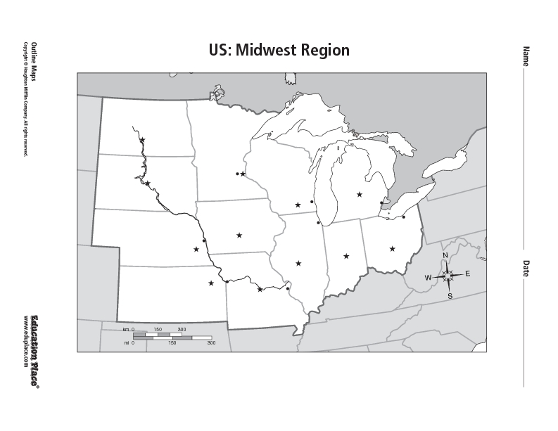 US Midwest Region Worksheet For Th Th Grade Lesson Planet - Midwest region map