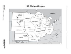 US Midwest Region Map Th Th Grade Worksheet Lesson Planet - Map of us midwest region