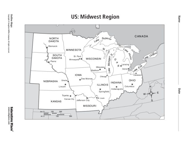 Midwest Travel Guide At Wikivoyage Lesson The Midwest States - Blank midwest map