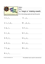 'U / Magic E' Missing Vowels Worksheet