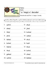 'O / Magic e' Decoder Worksheet