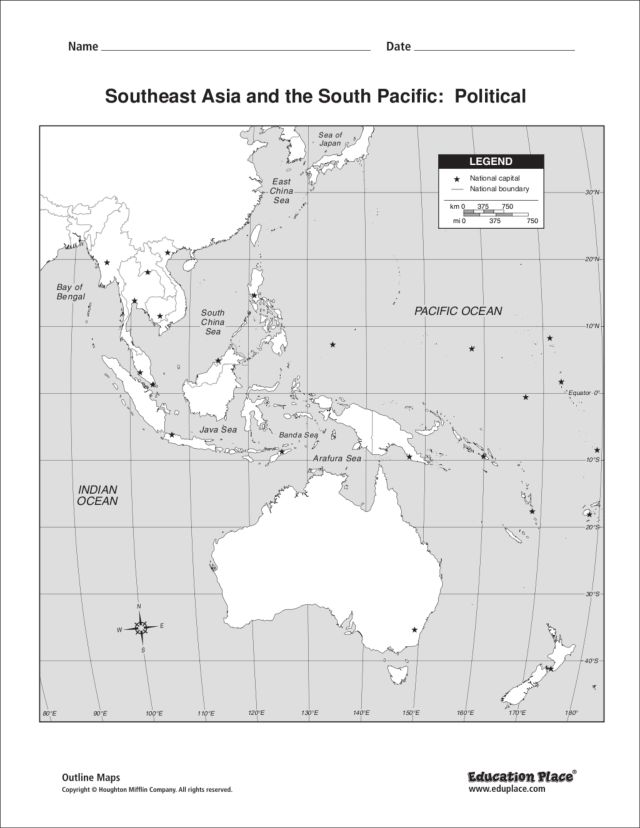 Map Of Southeast Asia And South Pacific.Southeast Asia And The South Pacific Political Graphic Organizer