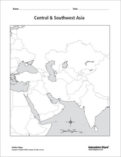 Central & Southwest Asia Outline Map Graphic Organizer for ...