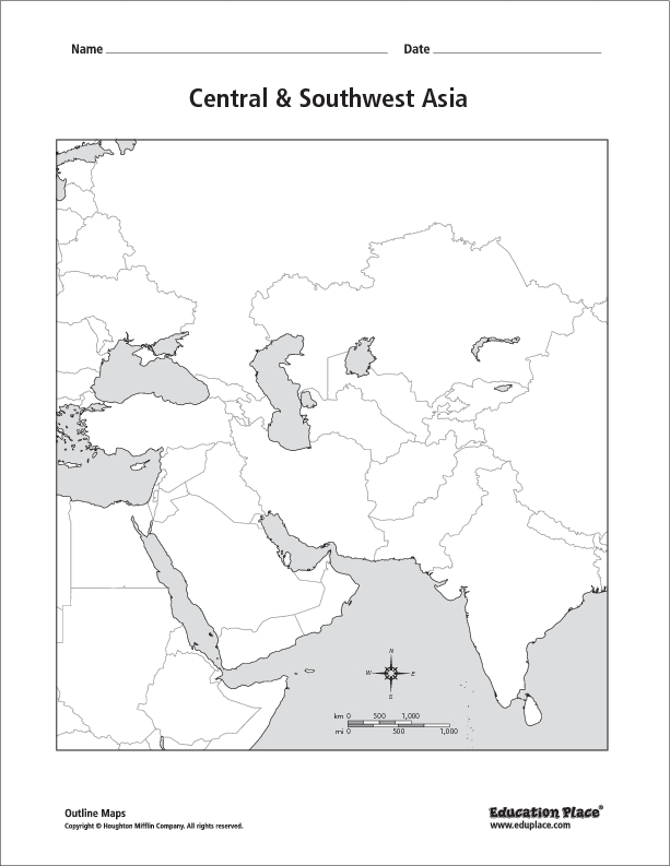 Central Southwest Asia Outline Map 6th 12th Grade Worksheet