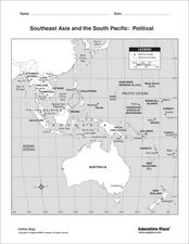 South east Asia and the South Pacific: Political: Labeled Map Worksheet