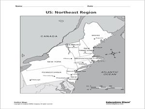 US Northeast Region Map 4th 12th Grade Worksheet Lesson Planet