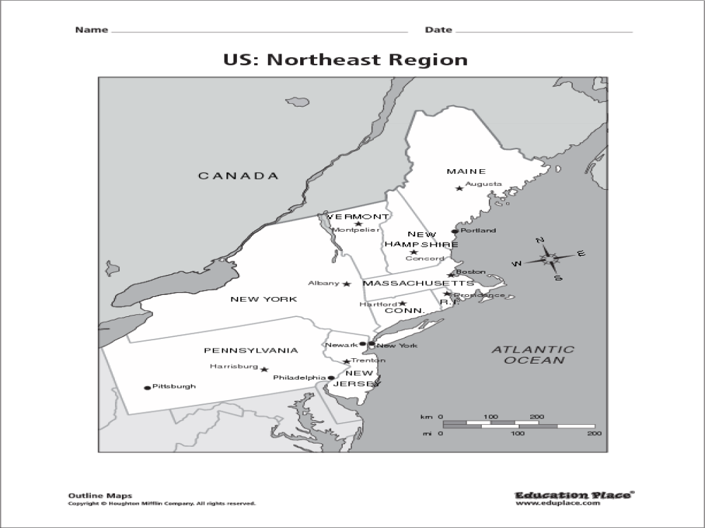 US: Northeast Region Map Graphic Organizer for 4th - 12th ...