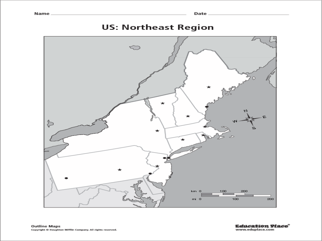 US Northeast Region Unlabelled Th Th Grade Worksheet - Blank map of the northeast region of the us