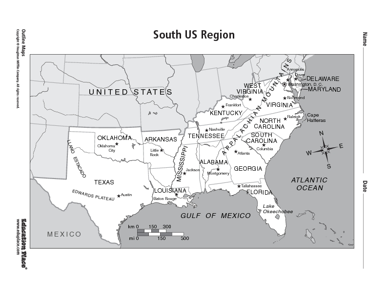 South US Region Graphic Organizer for 5th - 12th Grade ...