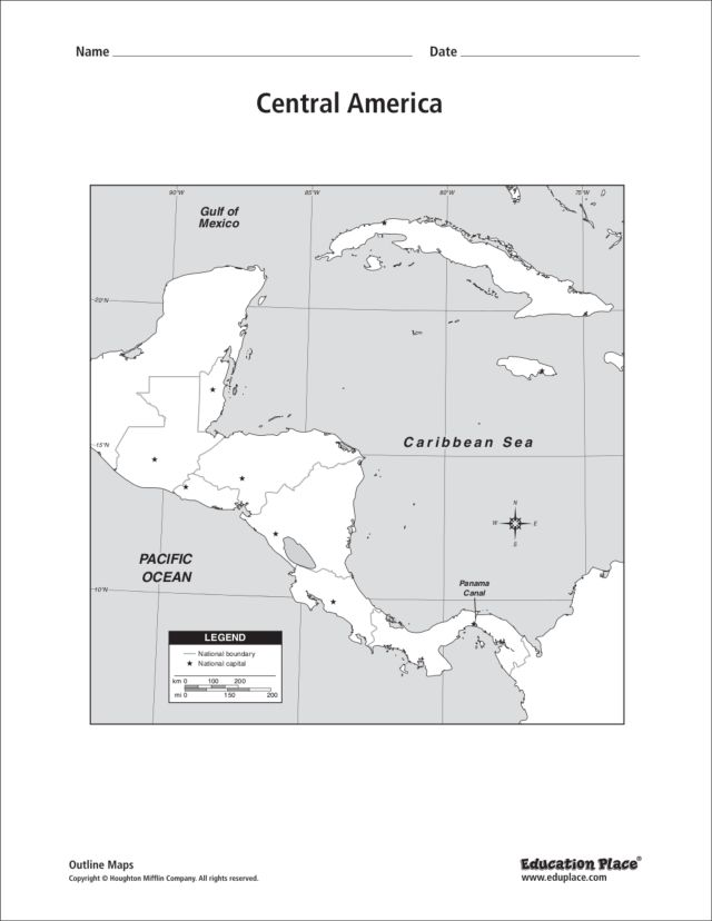 Map Of America Unlabeled.Central America Unlabeled Map Graphic Organizer For 5th 12th