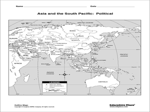 Asia And The South Pacific Political Map Asia and the South Pacific: Political Map Graphic Organizer for