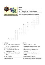 'A / Magic E' Crossword Worksheet