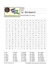 'EA' Word Search Worksheet
