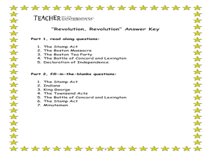 Revolution, Revolution Worksheet