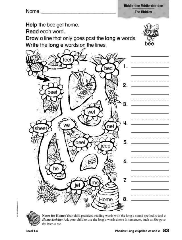Phonics: Long e Sound Spelled ee and e Worksheet for 1st