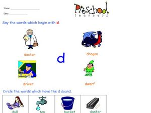 Words That Begin With the Letter D Worksheet