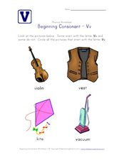 Beginning Consonant: Vv Worksheet