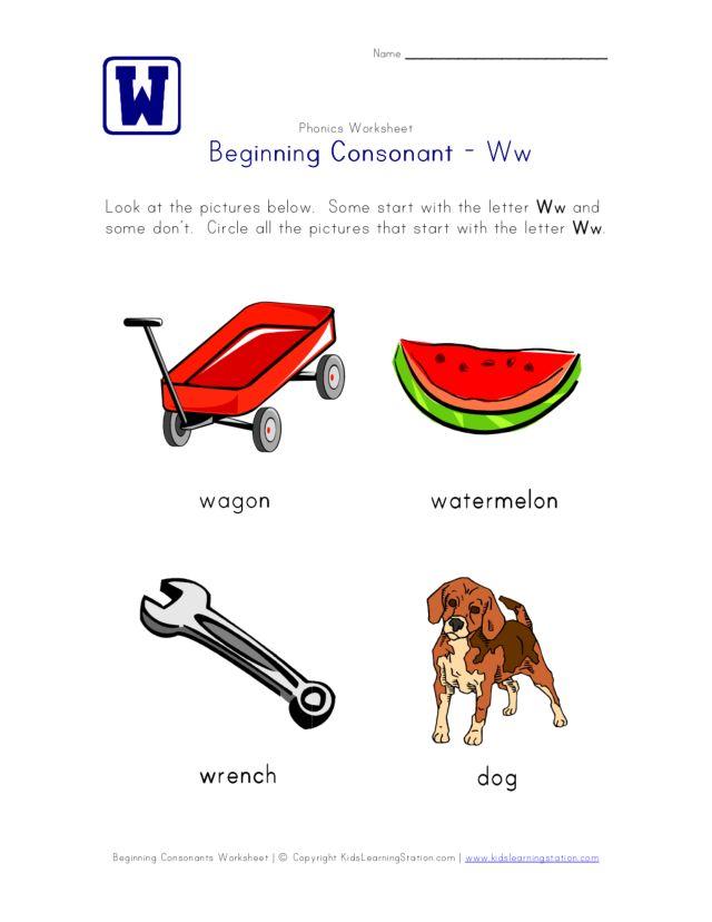 Beginning Consonant Ww Worksheet For Pre K Kindergarten Lesson Planet