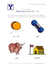 Beginning Consonant: Yy Worksheet