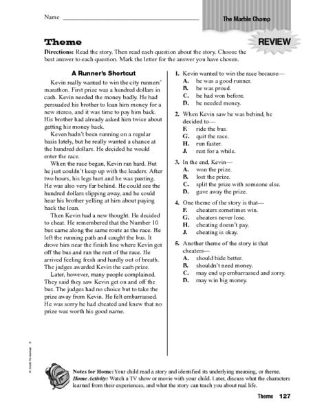 Theme The Marble Champ Worksheet