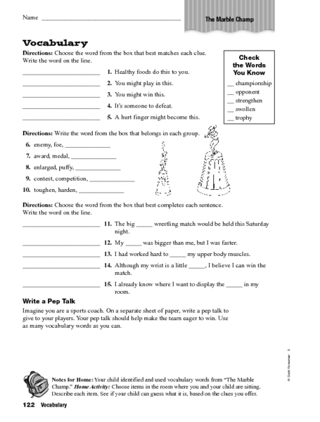 Vocabulary The Marble Champ Worksheet For 4th 5th Grade