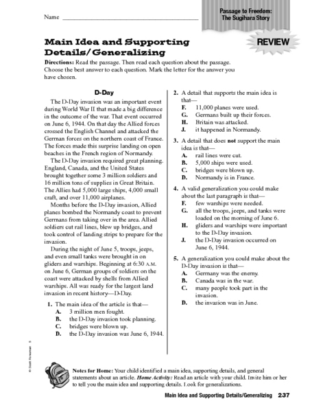 Main Idea And Supporting Details Worksheet Newatvs Info