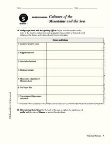 Cultures of the Mountains and the Sea Worksheet