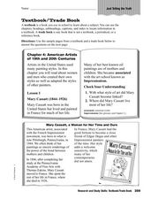 Research and Study Skills: Textbook/Trade Book Worksheet