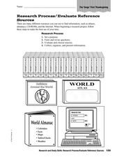 Research and Study Skills: Research Process/Evaluate Reference Sources Worksheet
