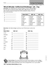 Word Study: Inflected Endings -ed -ing Worksheet