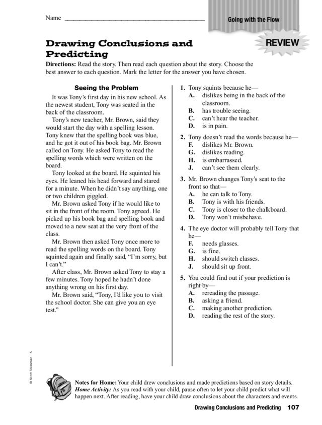 Drawing Conclusions and Predicting 4th 5th Grade Worksheet – Draw Conclusions Worksheet