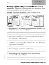Newspapers/Magazines/Periodicals Worksheet