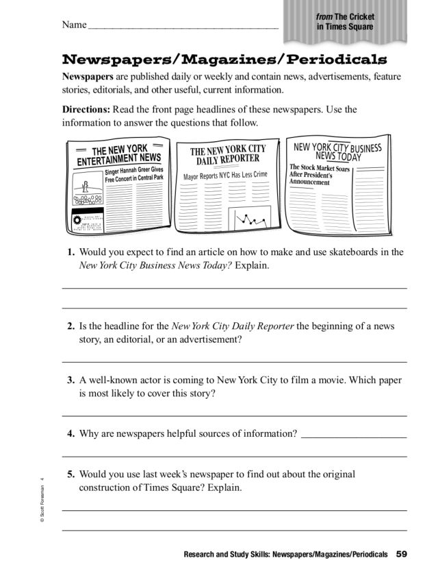 newspapers magazines periodicals worksheet for 2nd 4th grade lesson planet. Black Bedroom Furniture Sets. Home Design Ideas