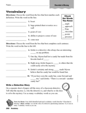 "Vocabulary: ""Chocolate Is Missing"" Worksheet"