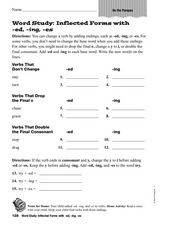 Word Study: Inflected Forms With ed, ing, es Worksheet