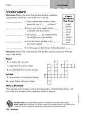 Vocabulary: On The Pampas Worksheet