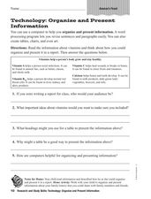 Research and Study Skills: Technology: Organize/Present Information Worksheet