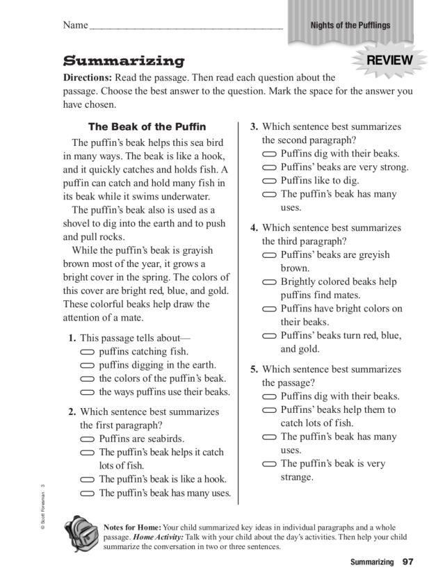 Summarizing Night of the Pufflings 2nd 3rd Grade Worksheet – Summarizing Worksheets 3rd Grade