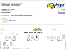 Cups, Pints, and Quarts Worksheet