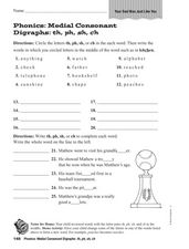 Medial Consonant Digraphs: th, ph, sh, ch Worksheet