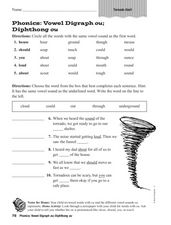 Phonics: Vowel Digraph Diphthong ou Worksheet
