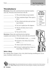 Vocabulary: More Than Anything Else Worksheet