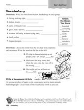 Vocabulary - Word Work Worksheet