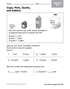 cups pints quarts and gallons worksheet for 3rd 4th grade lesson planet. Black Bedroom Furniture Sets. Home Design Ideas