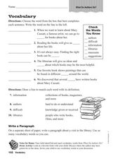 Vocabulary: What Do Authors Do? Worksheet