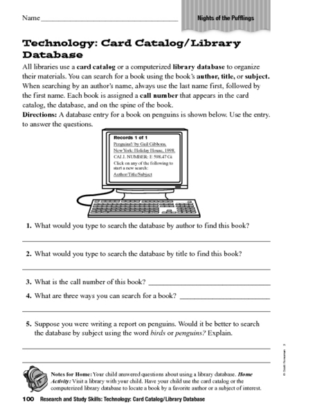 graphic regarding Work Sheet Library known as Technological innovation: Card Catalog/Library Worksheet for 6th Quality