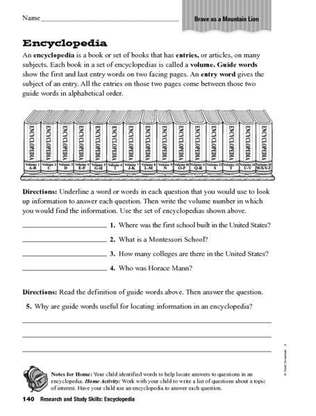 Encyclopedia Worksheets - Delibertad